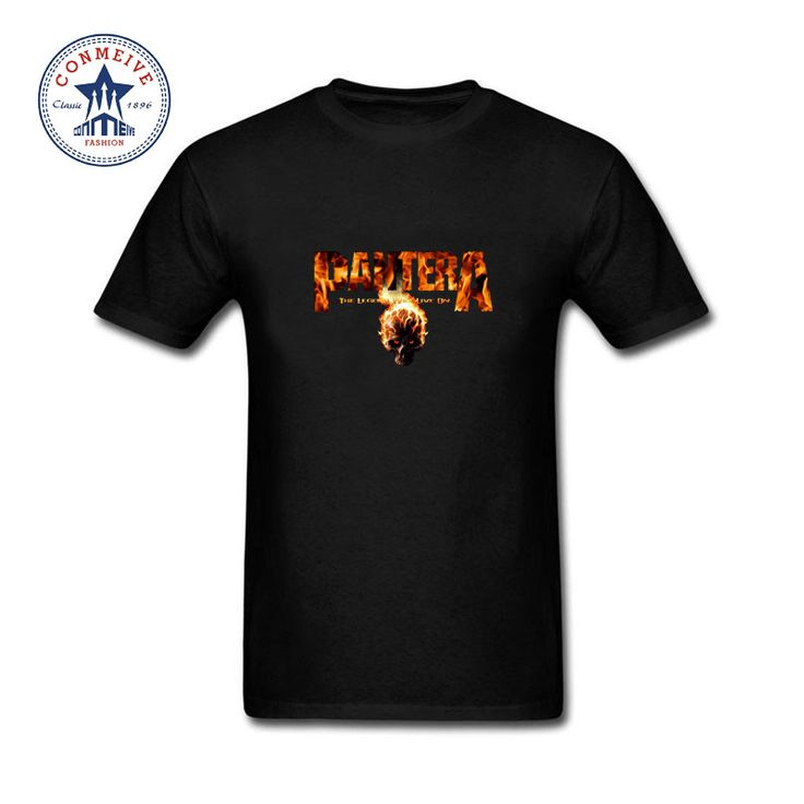 2017 Hot sale Fashion Clothes Casual Pantera Band Skull With Fire Cotton funny t shirt for men short sleeve #Affiliate