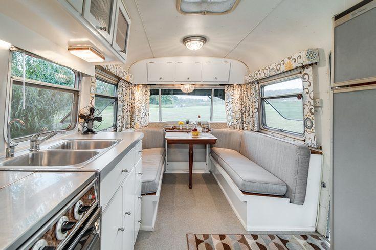 Camping Trailer Interior Redo Painted White Vinyl Floor Grey And Yellow Fabric Great Reno