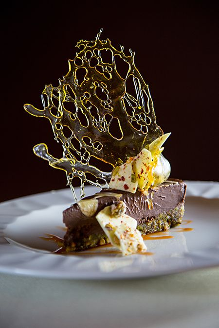 50 Best Restaurants in Charlotte | The Fig Tree's dark chocolate pistachio tart #cltdining