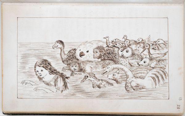 Оригинал рукописи Льюиса Кэрролла с его иллюстрациями