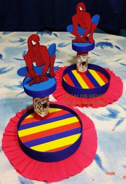 Spiderman centerpieces Centro de mesa, Golosinero Hombre Araña