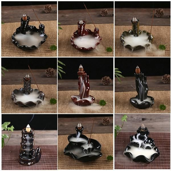 FREE SHIPPING, 100Pcs Natural Incense Or Ceramic Burner Fragrance Lotus Holder Censer Creative Aromatherapy Smoke Backflow Stick Incense Censer