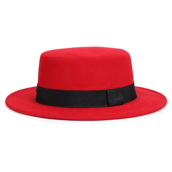 Red Bow Tie Brand Woolen Fedora Hat (£12) ❤ liked on Polyvore featuring accessories, hats, woolen hat, red fedora hat, wool hat, wool fedora and red wool hat