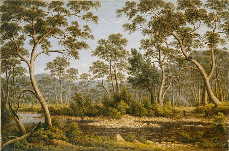 A successful painter, teacher and art dealer, John Glover arrived in Australia from London in 1831. Glover combined his interest in accurate depictions of the light, flora and fauna of Australia with idealised images of Aboriginal people that allude to the dramatic events of European settlement of Australia. Detail John GLOVER born Great Britain 1767 died 1849 The River Nile, Van Diemen's Land,  from Mr Glover's farm 1837 oil on canvas 76.4 x 114.6cm