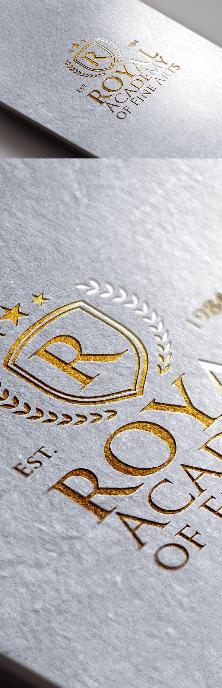 Logotipo de la hoja de oro maqueta PSD