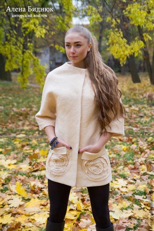 Купить Пальто Verona - бежевый, однотонный, пальто, валяное пальто, шерстяное пальто
