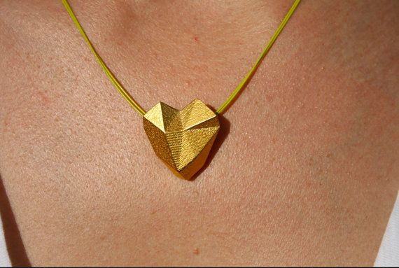 SOLID HEART  3D printed gold geometric heart by ButterscotchofBK, $145.00