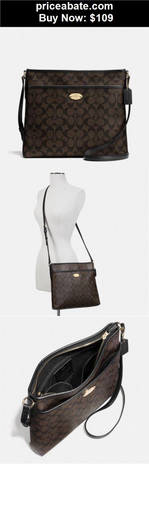 Women-Handbags-and-Purses: NWT COACH BROWN/BLACK SIGNATURE LEATHER CROSSBODY SHOULDER HANDBAG BAG PURSE - BUY IT NOW ONLY $109