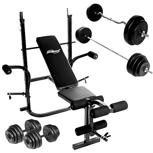 Weight Bench Set with Dumbbells (30 kg) Barbell (60 kg) and EZ Curl Bar (30 kg) for Home Gym Fitness