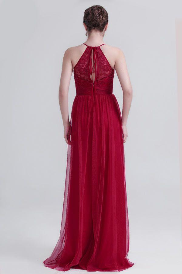 Bohème robe de soirée bordeaux en tulle dos décolleté goutte d'eau
