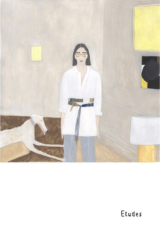 Room with borzoi and three paintings garments Etudes Studio, paintings Sasha Pichushkin 2017 #Illustration#fashion illustration#fashion#artists on tumblr#contemporary art#abstract#etudes studio#borzoi#dog#interior design#minimalism