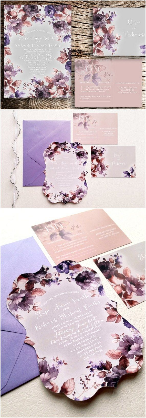 die cut wedding invitations floral wedding invitations die cut covington design ornate die - Purple Wedding Invitations