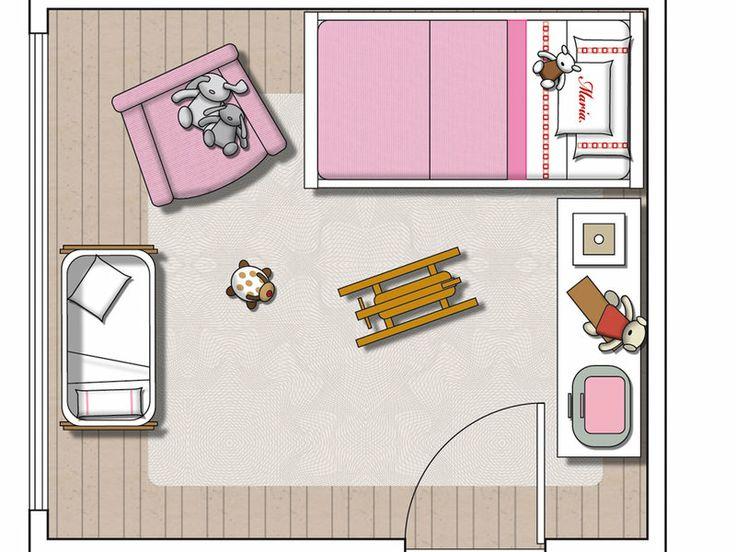Un dormitorio infantil con cama y cuna. ÁREA DE DESCANSO formada por la cuna-moisés, colocada en el lado próximo a la ventana, y por la cama pegada a la pared. Entre medias se dispuso una butaca que permite a los padres sentarse tranquilamente a dar biberones o a velar el sueño de la pequeña de la casa. ZONA DE JUEGOS. centro del dormitorio como amplio espacio de juegos con una cómoda, cuya superficie sirve de cambiador, y unos estantes fijados en la pared solucionan el almacenamiento.