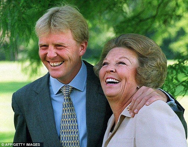 Queen Beatrix (pictured with her son Prince Willem Alexander) said she was 'grateful' for the years she was queen.