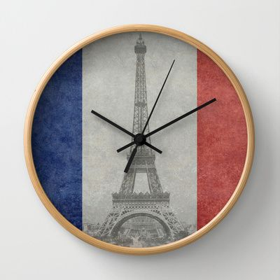 Distressed National Flag of France with Eiffel Tower insert Wall Clock