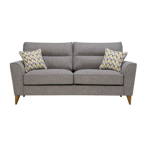 Jensen Silver 3 Seater Sofa With Zest Accent 2 Seater Sofa Sofa Black Fabric Sofa