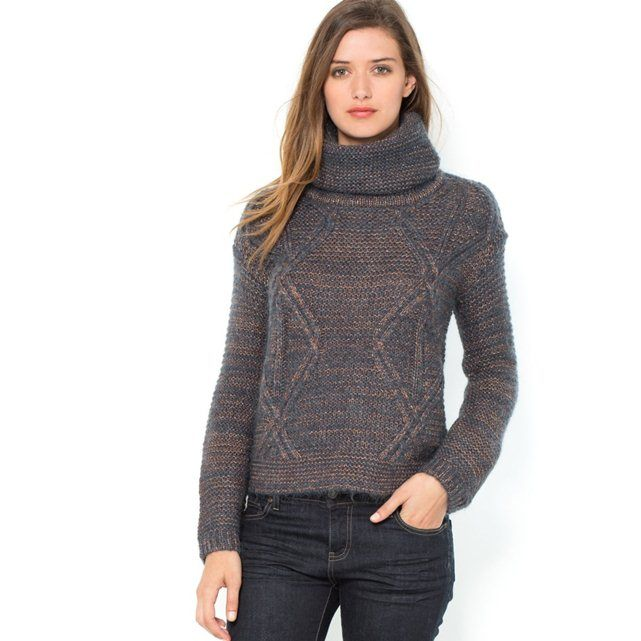 Metallic Cable Knit Turtleneck Sweater, 17% Mohair