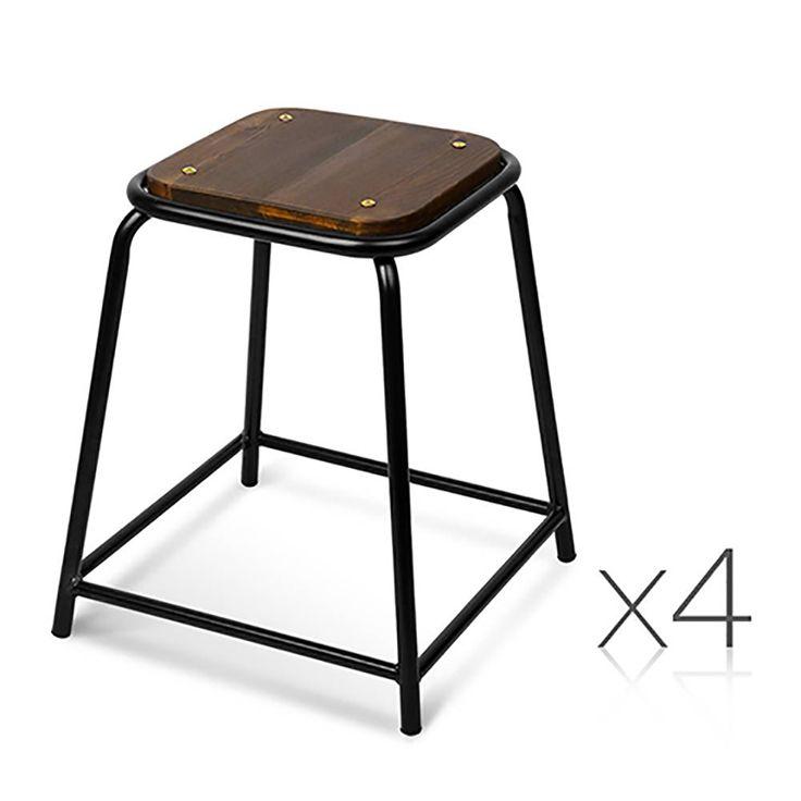 x4 Stackable Paddington Bar Stools w/ Pine Wood Seat