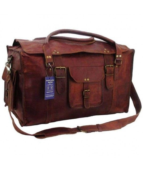 86107e7118 21 Inch Mens Retro Style Carry on Luggage Flap Duffel Leather Duffel ...