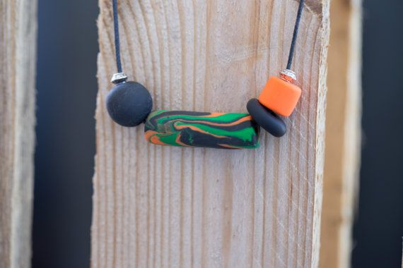 Polymer clay necklace. Orange green and by HandmadebyjoDesign