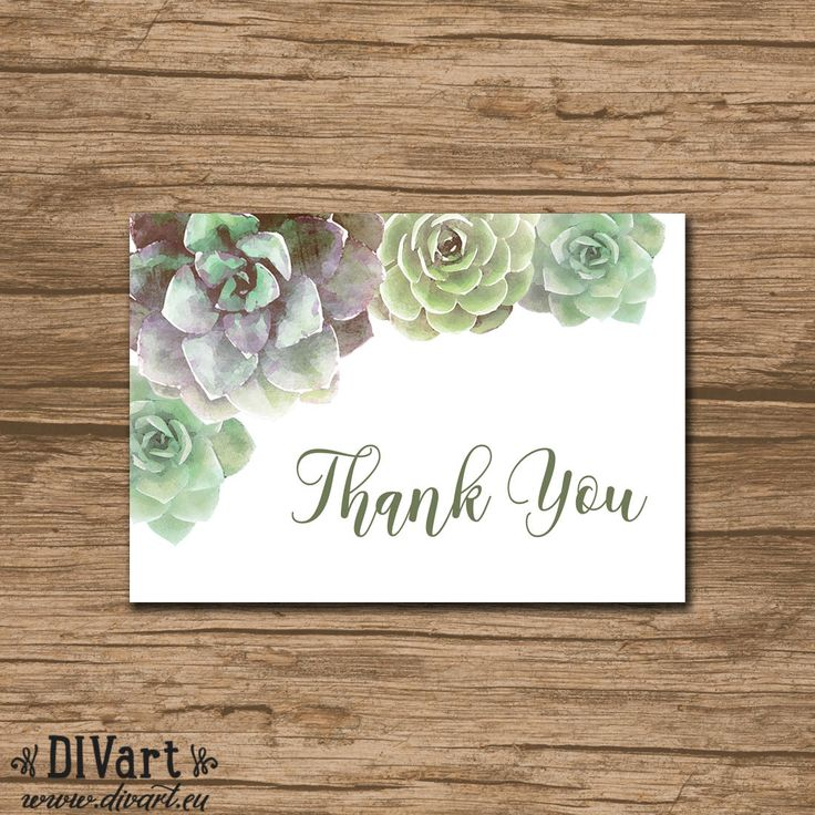 free printable wedding thank you cards with photo%0A Succulent Thank You Card  PRINTABLE file  rustic wedding  watercolor  succulent  green