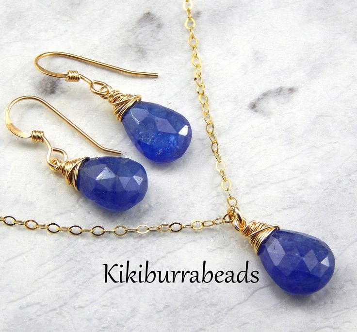 Blue Tanzanite Necklace And Earrings Set,Royal Blue,Wire Wrapped Gemstones,December Birthstone, by Kikiburrabeads on Etsy