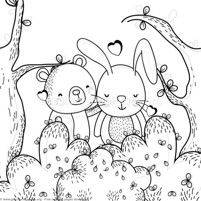 Bear And Bunny Best Friends Coloring Pages Free Instant Download