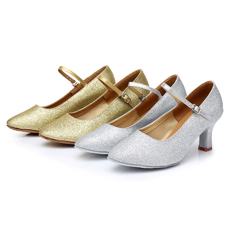 New Style Women Ladies Girl's Modern Dance Shoes Closed Toe Glitter Ballroom Party Dancing Shoes Heeled 5cm/7cm Gold/Silver #Affiliate