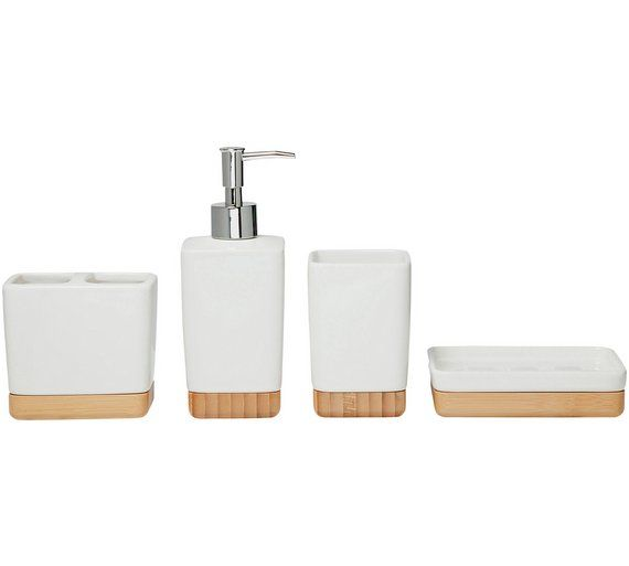 Buy Heart of House Clark 4 Piece Accessory Set - White at Argos.co.uk - Your Online Shop for Bathroom sets and fittings, Bathroom accessories, Home furnishings, Home and garden.