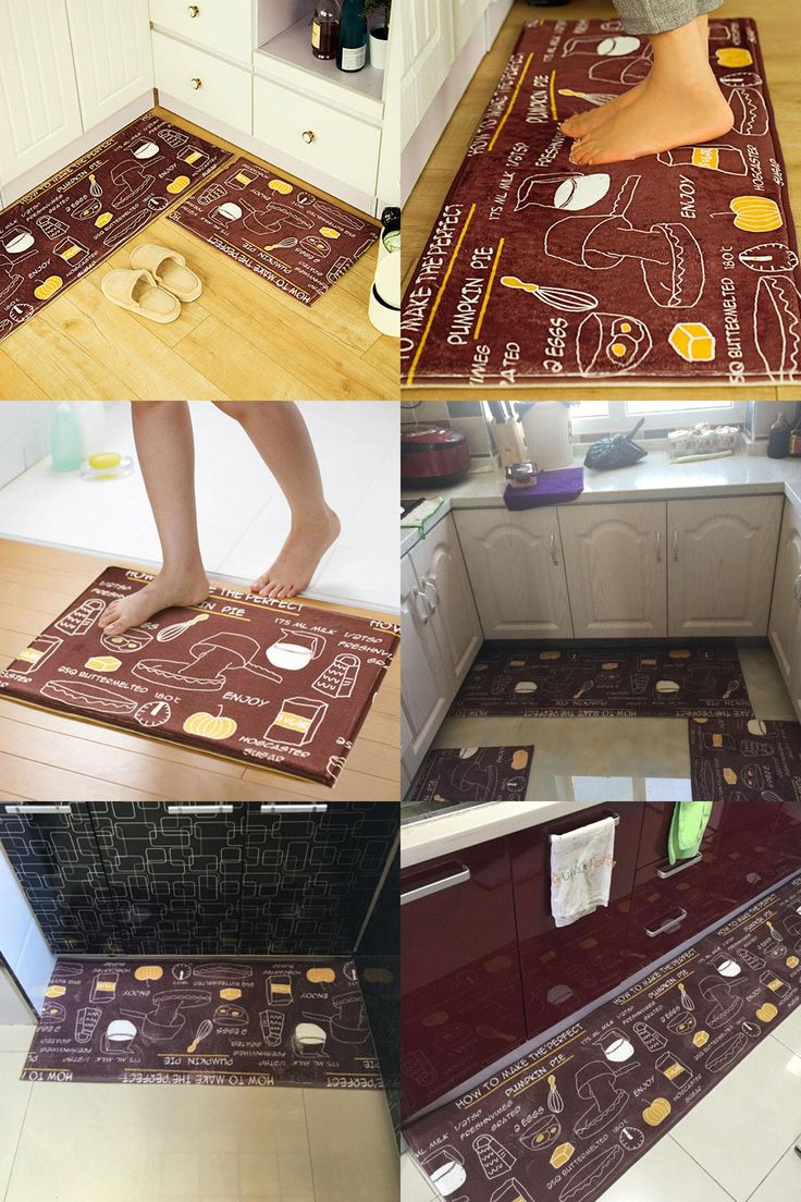 [Visit to Buy] Brown Breakfast Food Design Suede Floor Mat 3 Kinds Different Size Anti-slip Rugs Kitchen Bathroom Carpet #Advertisement