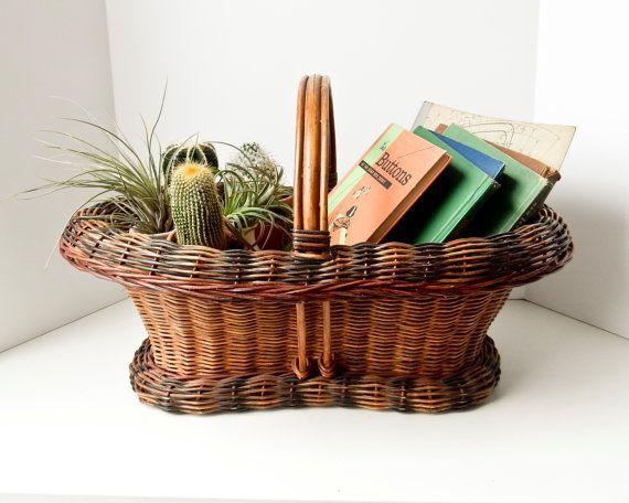 Antique Victorian Basket with Handle, Large Carry Basket, Colorful Basket