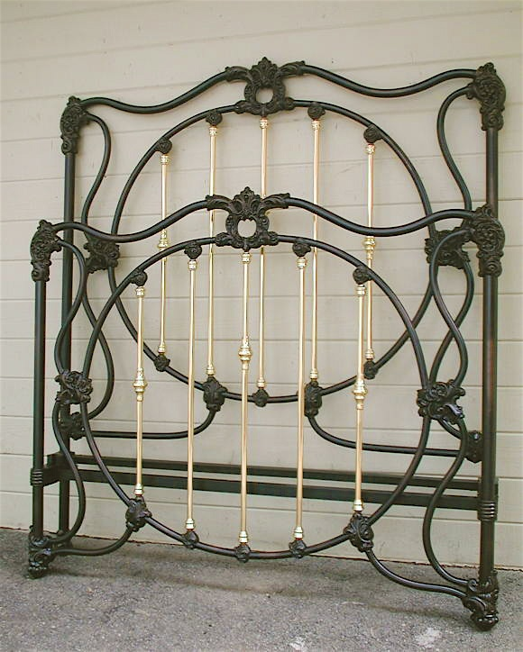 beautifully designed victorian iron bed w lots of interior brass great castings circa - Brass Beds