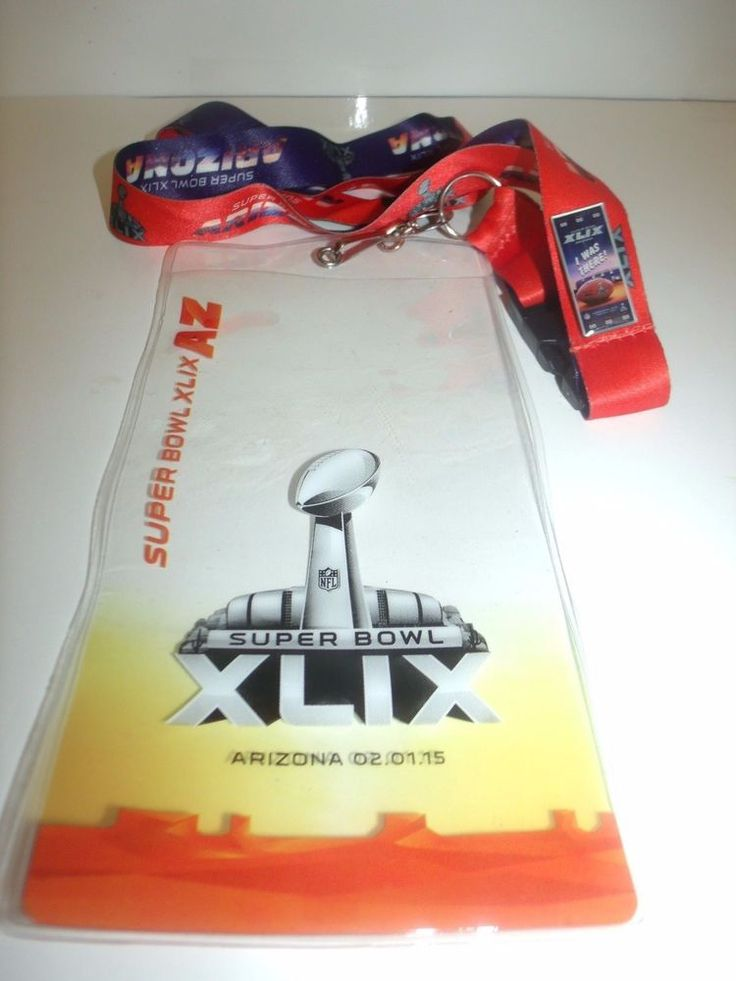 Superbowl 49 XLIX Patriots Seahawks Ticket Holder with Pin and Lanyard