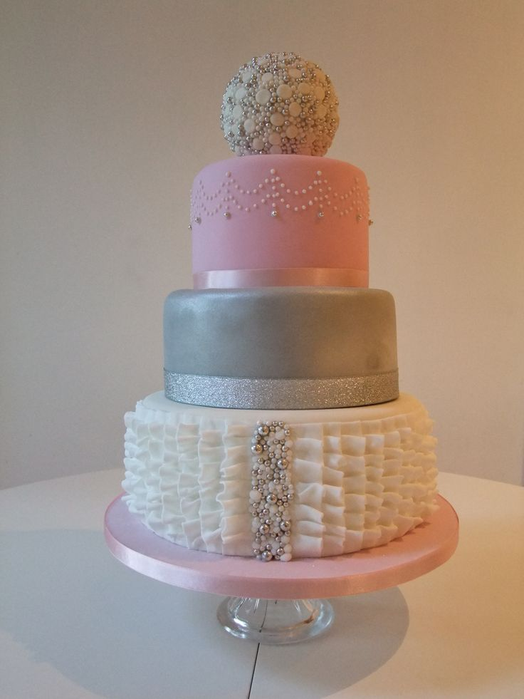 silver and pink wedding cakes pink silver white ruffle wedding cake www 19852