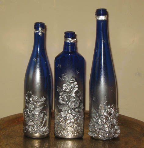 Декоративные бутылки. Цветы из кожи. Обсуждение на LiveInternet - Российский Сервис Онлайн-Дневников