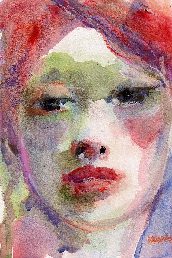Watercolor Original, Pastel Painting, Roxy, 6 x 9, Red Heads Rule, Female Portrait, Wall Art, Watercolor on Paper, Romantic Art, Small Art