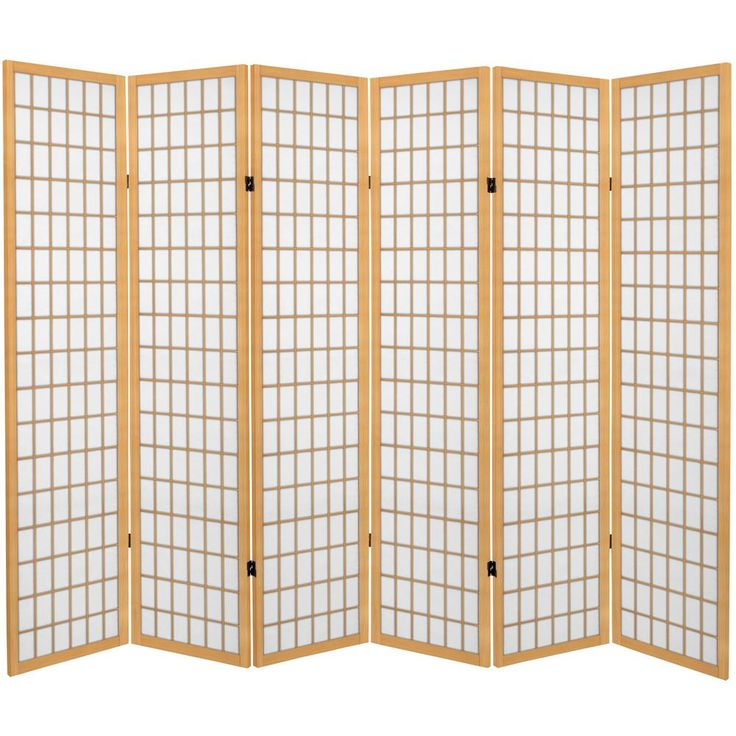 6 Ft Natural Canvas Window Pane 6 Panel Room Divider