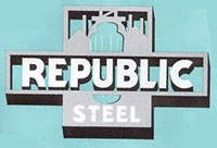 Republic Steel ~ In 1927, Cyrus S. Eaton acquired and combined Republic with several other small steel companies, with the goal of becoming large enough to rival U.S. Steel. The newly named Republic Steel Corporation was headquartered in Cleveland, Ohio, and became America's third largest steel company.