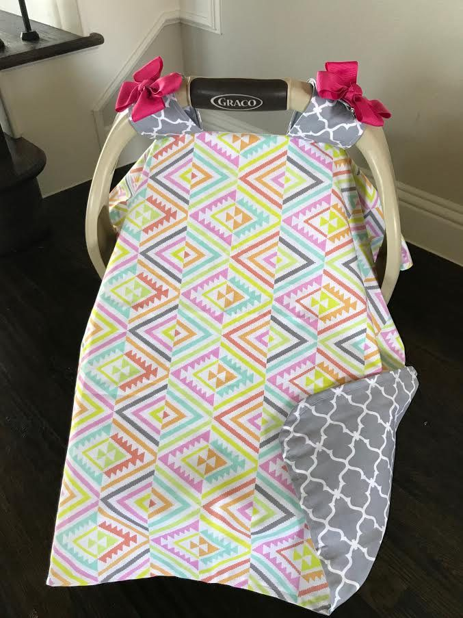 MOD Baby Car Seat Covers - Coral Teal Pink and Gray Tribal Print - Baby Girl - Shower Gift - Ready To Ship by kitcarsonblue on Etsy