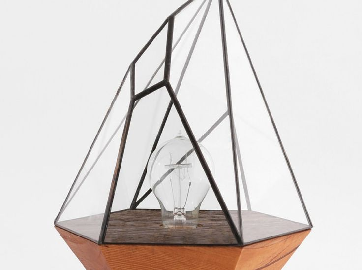 """Wood Base Lamps / Score + Solder - The British Columbia-based designer of Matthew Cleland and highlight his incredible lighting """"Wood Base Lamps"""" collection. These geometric beauties combine various materials and techniques, such as reclaimed fir wooden bases and richly tinted stained glass..."""