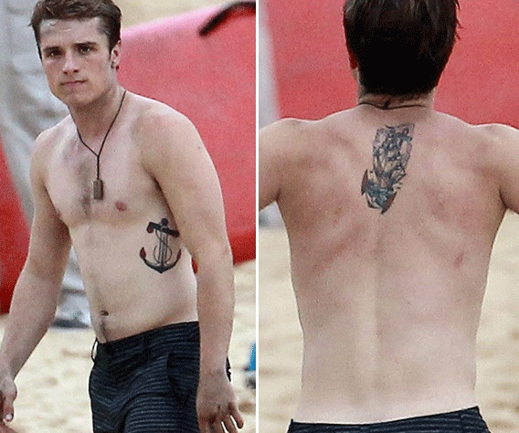 Josh Hutcherson shirtless showing his Tattoos