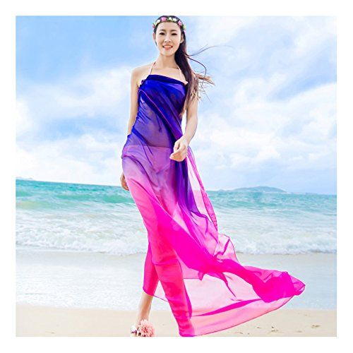 """GERINLY Sarong Wrap - Two Tone Chiffon Hawaiian Beach Cover Ups (Rose+Blue). OverSize: 59""""Wx70.8""""L (150cm*180cm). Material:Georgette - fine artificial silk chiffon, silk smooth,light and thin fabric. Sheer Material. Features: Plus Size, Lightweight, Soft, See-through Sexy Look Design, Perfect Swimsuit Cover Ups. Care Instructions: Just wash in cold water by hand with a gentle soap. Make a fun fashion statement in this colorful sarong. The beautiful shades of green, orange, and blue blend…"""