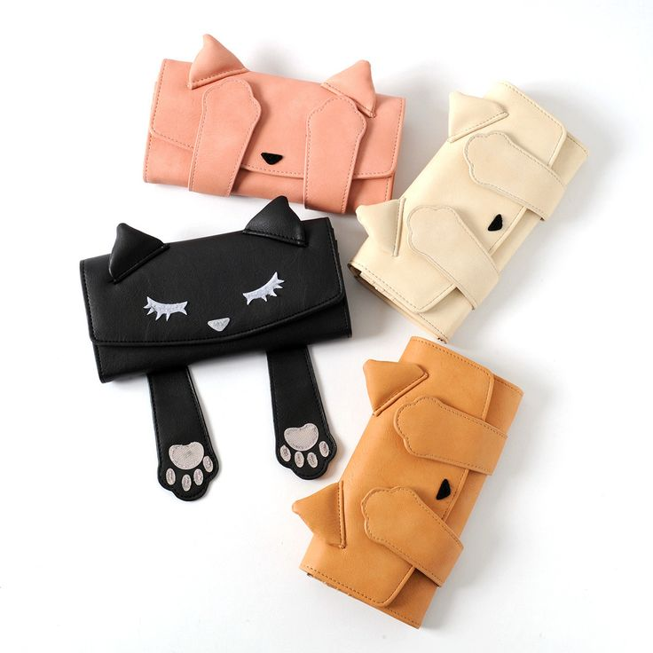The darling kitty **Pooh-chan** wants to play a game of **peek-a-boo** with you! This **faux leather long wallet** is available in **four stylish colors** including **black, ivory, beige,** and **pink,** and uses a **snap closure** to secure all of your important items. Inside you'll find plenty of room for your cash, change, and cards, as well!  Consider pairing it with the other matching Peek-... #jfashion #kawaii