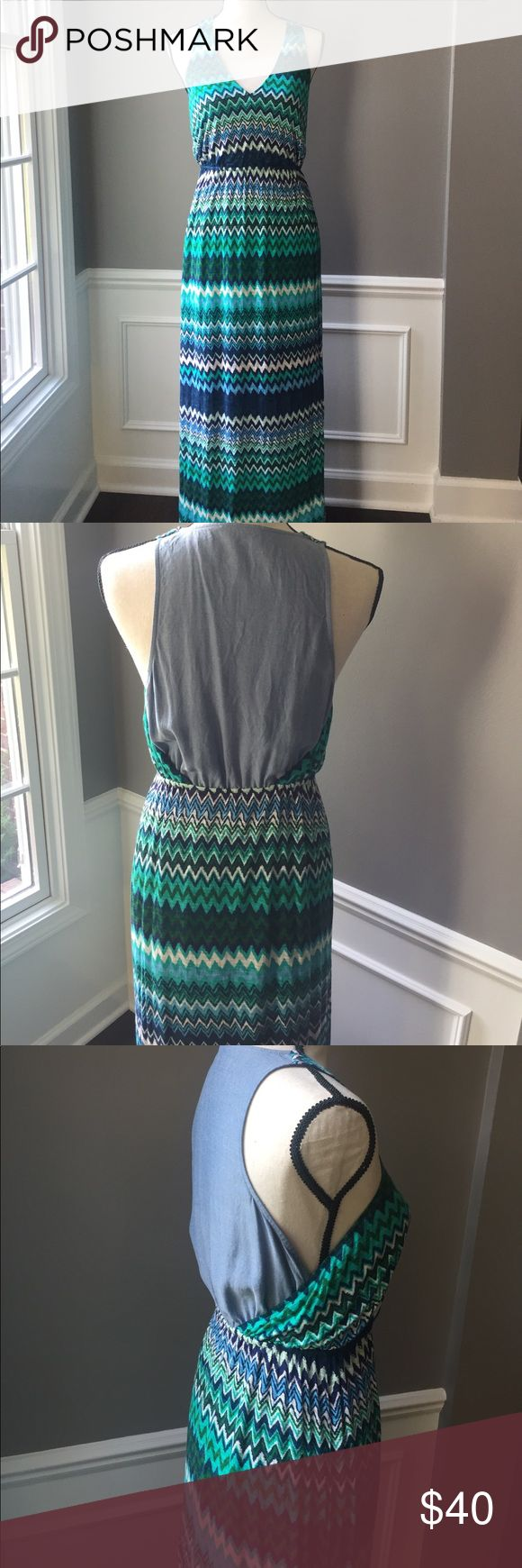 Anthropologie green and blue chevron maxi dress The Addison story maxi dress from Anthropologie. Size medium, dry clean only. Wore only once, had it hemmed as it was a little long on me. Length now measures at approximately 54 inches. Partially lined. Back has a light chambray material. Really cute!!! Anthropologie Dresses Maxi