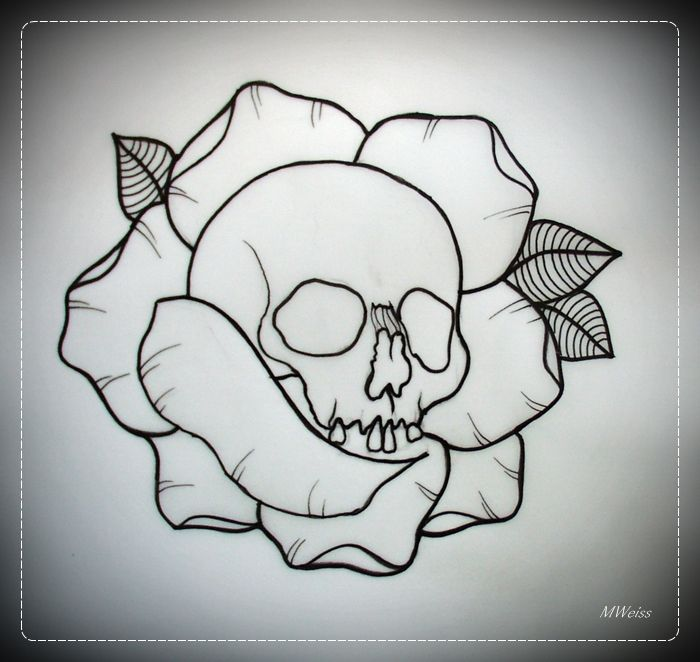 SKULL IN ROSE tattoo flash OUTLINE by oldSkullLovebyMW.deviantart.com on @deviantART