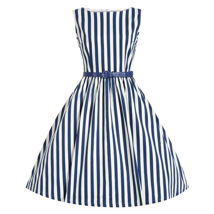 Šaty Lindy Bop Audrey Blue Stripe Retro šaty ve stylu 50. let. Kouzelné proužkaté šaty ve střihu Audrey. Přesně to pravé pro zahradní slavnosti, letní večírky, retro párty. Nebo prostě jen na léto - s bílými páskovými botkami, kloboučkem a kabelkou. Velmi příjemný materiál (97% bavlna 3% elastan), živůtek podšitý bavlněnou, podšívkou, pružný, dobře padnoucí střih s lodičkovým výstřihem, v boku skryté kapsy, modrý pásek součástí, vzadu na zip.