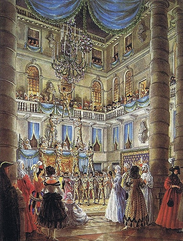Charles de Beistegui's Ball in Venice in 1951. Watercolor by Alexandre Serebriakoff.:
