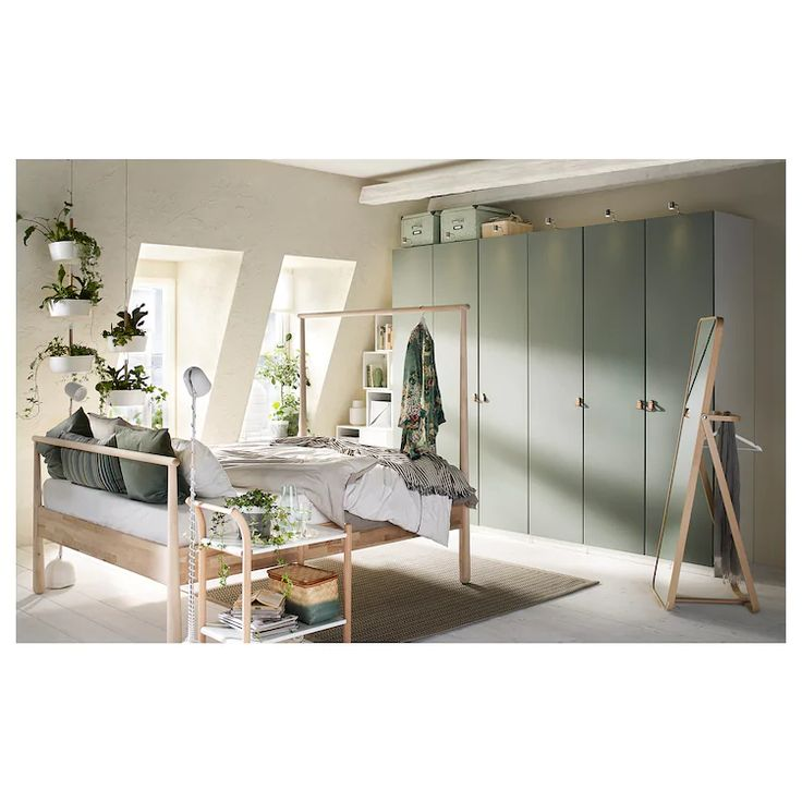 Simple Modern Ideas For Small Living Rooms To Fool The Eyes: REINSVOLL Door With Hinges - Gray-green - IKEA