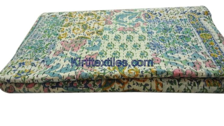 Fruit Print Indian Traditional Designer Old Cotton Saree Patchworked Kantha Gudri Bedsperad Cum Throw From Jaipur India
