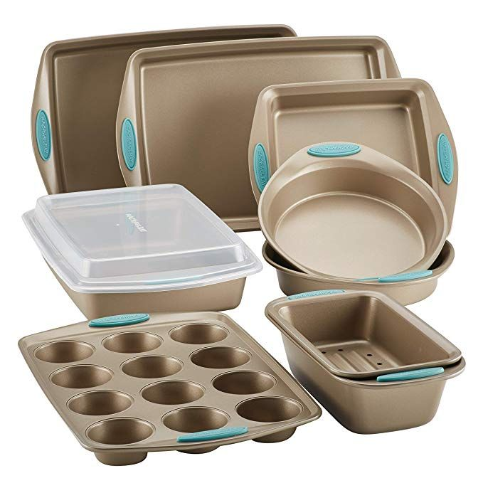 Amazon Com Rachael Ray Cucina Nonstick Bakeware 5 Piece Set Latte Brown With Agave Blue Handle Grips Kit Bakeware Set Nonstick Bakeware Rachael Ray Bakeware